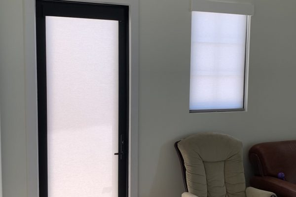 Light Filtering Cordless Roller Shades with custom flat white wood valance 02